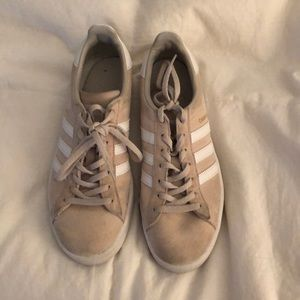 tan and white adidas campus